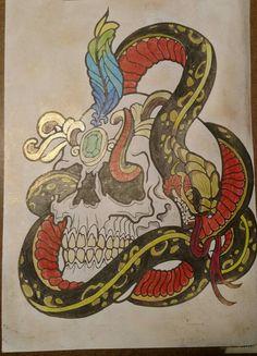 Cobra e caveira . Livro colorindo tatuagem