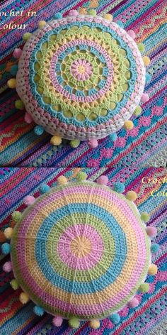 Carnivale Pillow Free Crochet Pattern Crochet Pillow Pattern, Crochet Mandala Pattern, Crochet Circles, Crochet Cushions, Crochet Stitches, Crochet Patterns, Crochet Blankets, Crochet Home, Diy Crochet
