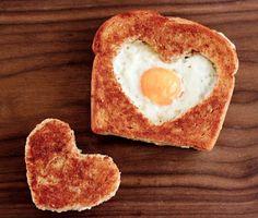 Valentine's Day breakfast: heart-shaped eggs in a basket