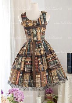 School Style Printed Library Straps Sleeveless Sweet Lolita Dress