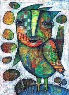 Dan Casado Outsider Folk Art Birdman Original Collage Painting Wood | eBay