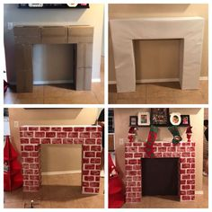 DIY fireplace made out of cardboard boxes and painted contact paper using a sponge to press out the bricks! Finished it off with black paper! Fireplace Box, Diy Christmas Fireplace, Cardboard Fireplace, Fireplace Furniture, Christmas Float Ideas, Kids Christmas, Grinch Christmas, Cardboard Crafts, Cardboard Boxes