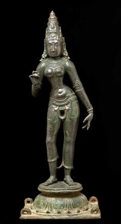 Processional Image Representing Parvati, the Spouse of Shiva, India, Tamil Nadu, 14th century Bronze