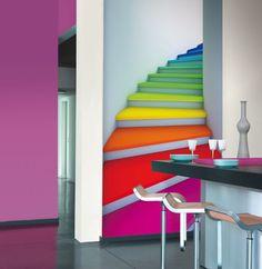 Papeles pintados con imagen de escalera de colores