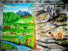 Oil Pastel Drawings, Art Drawings, Global Warming Drawing, Incredible India Posters, Painting For Kids, Art For Kids, Water Drawing, 5th Grade Art, Indian Art Paintings