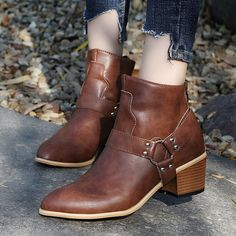 Plain Chunky Mid Heeled Point Toe Date Outdoor Short High Heels Boots - Buy Shoes Chunky Heel Shoes, Chunky High Heels, High Heel Boots, Heeled Boots, High Heels Stilettos, Shoes Heels, Dress Shoes, Buckle Ankle Boots, Luxury Shoes