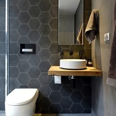 I loved these hexagonal tiles! Kyal & Kara Downstairs Bathroom and Terrace Fans Vs Faves | The Block Shop - Channel 9