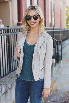 Edgy Sand Leather Jacket – UOIOnline.com: Women's Clothing Boutique