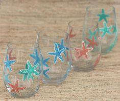 Starfish Stemless Wine Glass / Painted Beach Wine Glass / Single Stemless Wine Glass / Beach Housewarming Gift / Beach Wedding Gift  #paintedwineglass #starfish #beachwedding