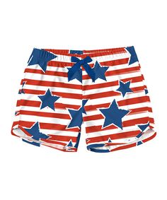 Red Stripe & Navy Star Shorts - Toddler & Girls
