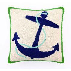 Nautical Blue Anchor Pillow from @PoshTots #poshtots #anchor #pillow #design #baby #blue #green #decor