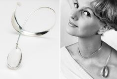 Silver necklace with rock crystal, designed by Torun Bülow-Hübe in 1959, and model wearing the necklace. Images by Mats Landin and Karl-Erik Granath, Nordiska museet.