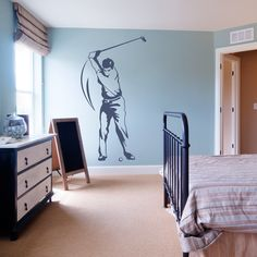 No need to duck and cover from this Golf player, although he is ready to take a big swing at a golf ball. Our Golfer Wall Decal is the perfect wall art for any man cave, golfer's bedroom or sports themed office. Mens Wall Art, Man Cave Wall Art, Sports Decals, Sports Wall, Beach Wall Decals, Wall Decal Sticker, Golf Gifts, Ikea Furniture, Golf Player
