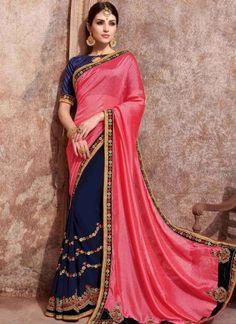 Pink Blue Embroidery Work Satin Chiffon Georgette Designer Fancy Half Sarees http://www.angelnx.com/Sarees/Party-Wear-Sarees