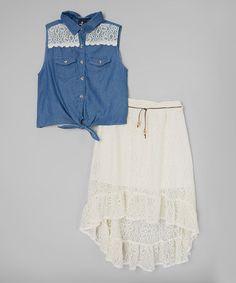 Another great find on #zulily! Denim Button-Up Top & White Skirt - Toddler & Girls by Dollhouse #zulilyfinds