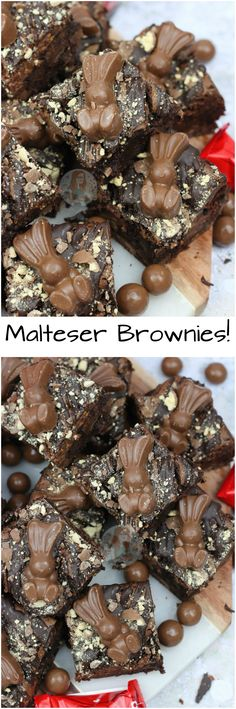 Fudgey, Chocolatey, Gooey Malt Chocolate Brownies with Malteser Spread, Maltesers and Malteser Bunnies, to boot! Brownie Recipes, Cookie Recipes, Dessert Recipes, Malteser Recipes, Delicious Desserts, Yummy Food, Cupcake Cakes, Cupcakes, Easter Treats
