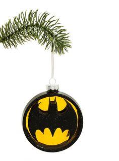 "<div>The ornament Gotham City needs. A DC Comics blown glass Bat-logo brings <i>Batman</i> to your house. The black bat design sparkles with equally black glitter.</div><div><br></div><ul><li style=""list-style-position: inside !important; list-style-type: disc !important"">4"" diameter</li><li style=""list-style-position: inside !important; list-style-type: disc !important"">Gl..."