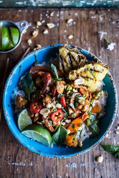 30 Minute Sweet Thai Chili Peanut Chicken and Grilled Pineapple Stir Fry by halfbakedharvest