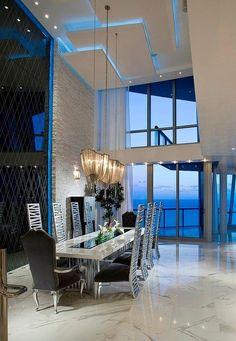 Jade Ocean Penthouse. Blue Lumilum LED Strip Lights for ceiling effect:
