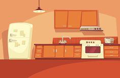 Cartoon kitchen Animation background Kitchen cartoon Cartoon background