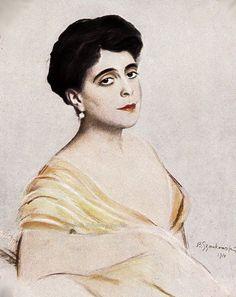 Portrait of Princess Nicolaos of Greece, neé Grand Duchess Elena Vladimirovna of Russia. 1910s.