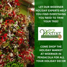 We are your #Christmas tree trimming #headquarters!   We also have an incredible selection of #ornaments, #wreaths, Christmas collectables, nativity scenes, life-size #decorations, lights, #ribbon, #garland and more! #Woerner #Pensacola