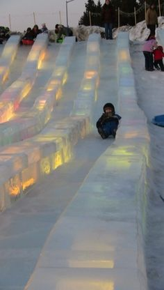 Ice slides at the Ice Park in Fairbanks. Each year people come from all over the world to compete in the Ice Art Championships (ice carvings). They're amazing but what is also fun is what is created for the kids - an ice rink, ice slides, spinning ice cups, and more. Fun for everyone!