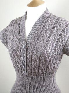 style handknit cap sleeve jumper button down retro dress 09 2014 123 Baby Knitting Patterns, Knitting Designs, Knitting Tutorials, Knitting Ideas, Stitch Patterns, 1950s Fashion, Club Fashion, Vintage Fashion, Lace Knitting
