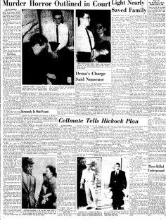 """""""El más efectivo testigo del fiscal fue Alvin Dewey. Su declaración, el primer relato público de los sucesos narrados en la confesión de Perry Smith, mereció grandes titulares (REVELACIÓN DEL MUDO HORROR DEL DELITO. Recuento de los escalofriantes hechos)"""". """"The Hutchinson News"""", pag. 21, jueves 24 de marzo de 1960. Titular al que se refiere Capote. Edward Smith, Book Presentation, In Cold Blood, Serial Killers, True Crime, Horror, Shots, Movie Posters, Life"""