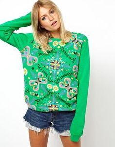ASOS Sweatshirt with Folk Puff Print on shopstyle.co.uk