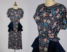 1940s dress/ 40s floral rayon dress/ tiered peplum by shopKLAD