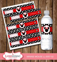 Minnie Mouse Water Bottles Minnie Mouse Birthday Party Printables LL-0057-02