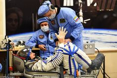American Nick Hague and Russian Aleksey Ovchinin were forced to return to Earth and landed in Kazakhstan when the booster malfunctioned during launch on their Soyuz rocket. Space Suits, Rocket Launch, Russian Air Force, Nasa Astronauts, Space Race, Anatomy Reference, Thursday, The Help, Countries