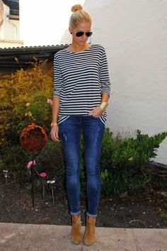 Striped shirt + skinnies + ankle booties + sunnies + bun #springoutfit