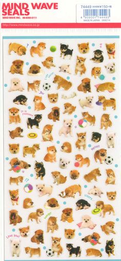 Kawaii Japan Sticker Sheet Assort Cute Shiba Puppies by mautio, $3.15