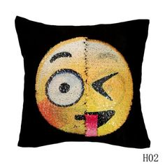 2017 New Cute Diy Changing Face Emoji Decorative Pillows Sequin Pillow Smiley Face Pillow Sofa Cushion Home Decor