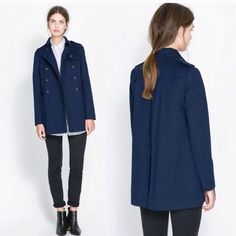 Gorgeous Zara Trench Love wearing navy during this time of year!! Zara Jackets & Coats