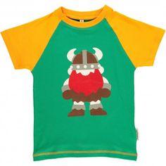 T-shirt, raglan, green with solid viking print, Maxomorra