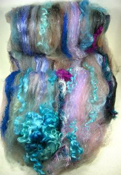 Ballerina Wild Card Bling Batt for spinning and by yarnwench, $30.00