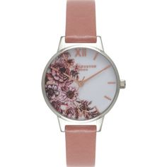 OLIVIA BURTON OB15FS73 Flower Show silver and leather watch ($88) ❤ liked on Polyvore featuring jewelry, watches, silver jewellery, pink watches, silver jewelry, leather watches and flower jewellery