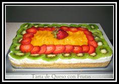 Tarta de Queso con Frutas Sin Horno fácil de preparar, muy rica y cremosa.