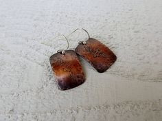 Hammered copper square earrings handstamped flowers by Amayeli, $18.00
