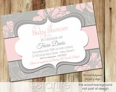 Baby Dreams  Pink and Gray Grey  Baby Shower by starwedd on Etsy, $18.00