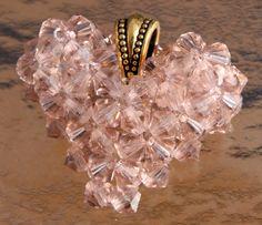 Swarovski Crystal Vintage Rose Heart Charm.