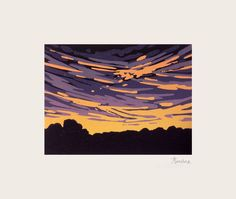 A mini reduction linocut of an imaginary sunset. A reduction print is a relief print formed with layers of colour that are cut and printed from the same block, in this case, from lino. This is o...