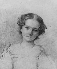 George Augustus Baker Jr., Head of a Girl (from McGuire Scrapbook), Graphite on off-white wove paper, 6 1/2 x 5 5/8 in.