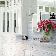 Traditional Home - bathrooms - white, floor to ceiling, mirrored, bathroom cabinets, carrara, marble, tops, carrara, marble, subway tiles, backsplash, polished, carrara, bardiglio, basketweave, mosaic, tiles, floor, bardiglio marble, bardiglio marble tile, bardiglio marble floor, bardiglio marble tile floor, bardiglio marble bathroom floor, Restoration Hardware Mirror,
