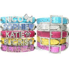 pixies christmas list...she wants the hot pink one in the middle with the silver name rhinestone letters <3
