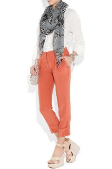 faded orange + ivory + grey scarf + nude shoes/accessories