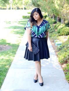 Curvy Girl Chic Target Ava & Viv Tribal Print Outfits Green Blue Leather Skirt